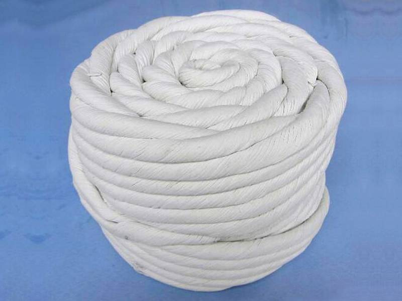 A roll of white twisted asbestos rope